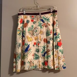 J. Crew tropical pleated skirt
